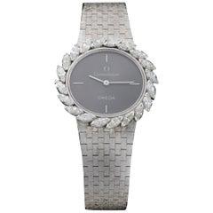 Omega 18 Karat White Gold and Diamond Watch, 1980s