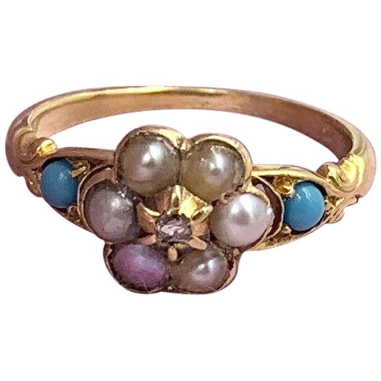 Victorian Rose Cut Diamond Turquoise Pearl Ring 14 Karat Gold Antique Engagement