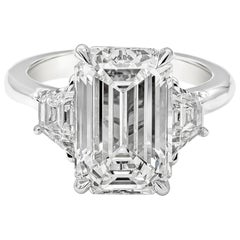 GIA Certified 5.80 Carat Emerald Cut Diamond Three-Stone Engagement Ring