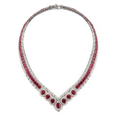 Certified Ruby and Diamond Shaped Necklace