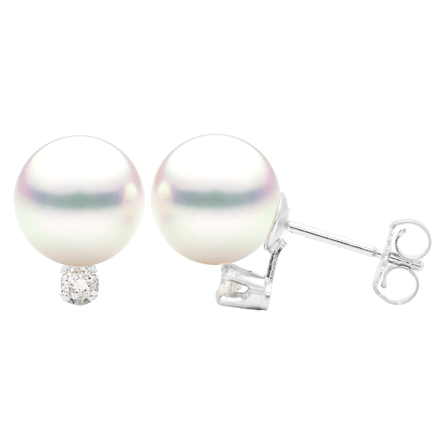 8-8.5mm White Cultured Pearl Stud Earring with Diamond in 14 Karat White Gold