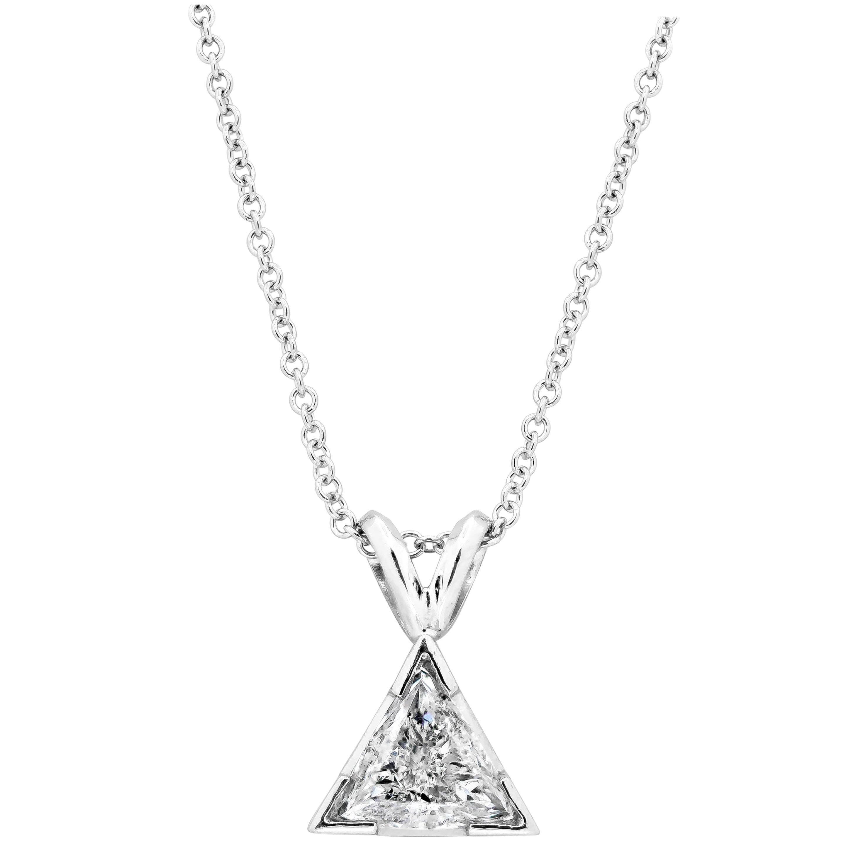 0.51 Carat Trillion Diamond Solitaire Pendant Necklace