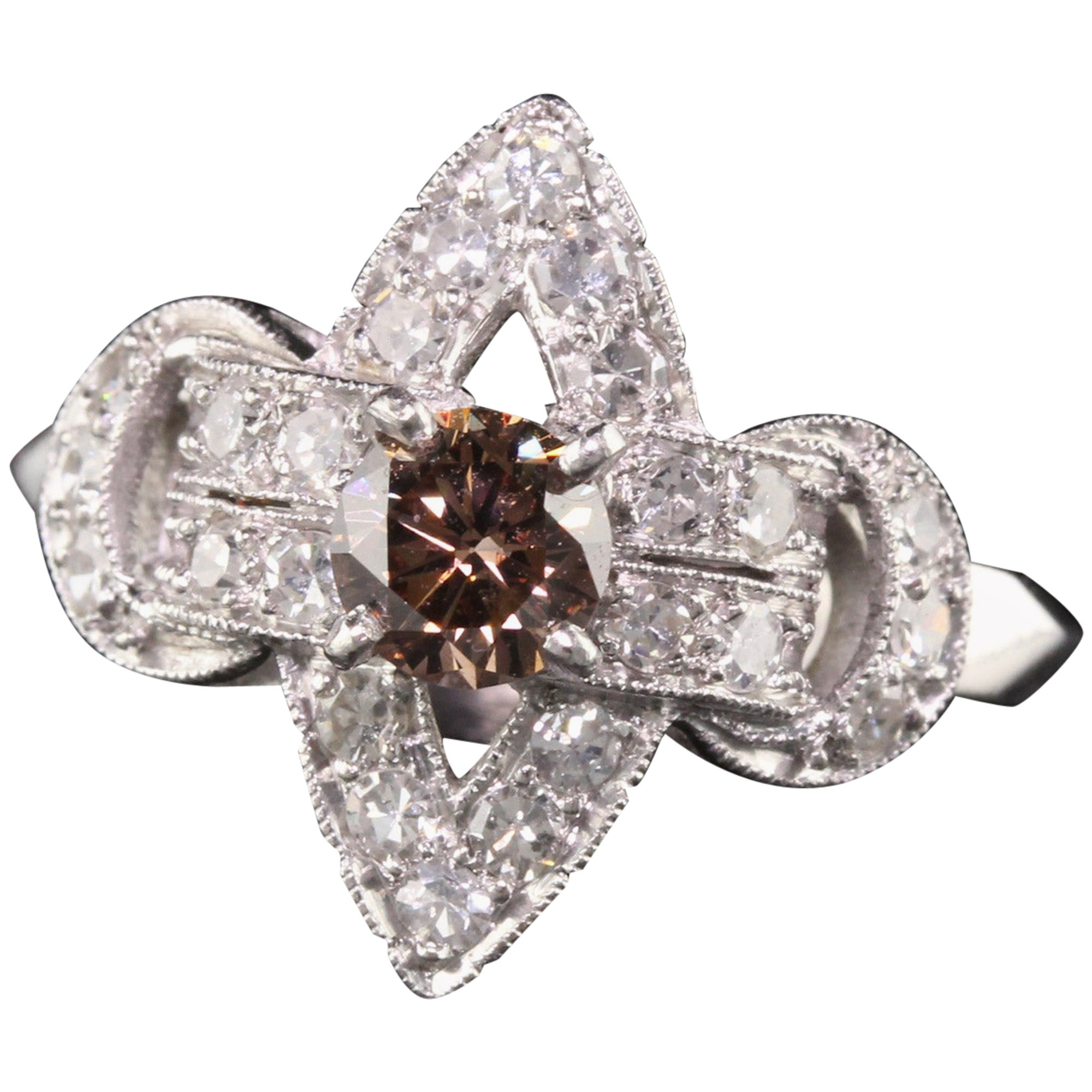 Vintage Art Deco Platinum Single Cut and Champagne Diamond Engagement Ring