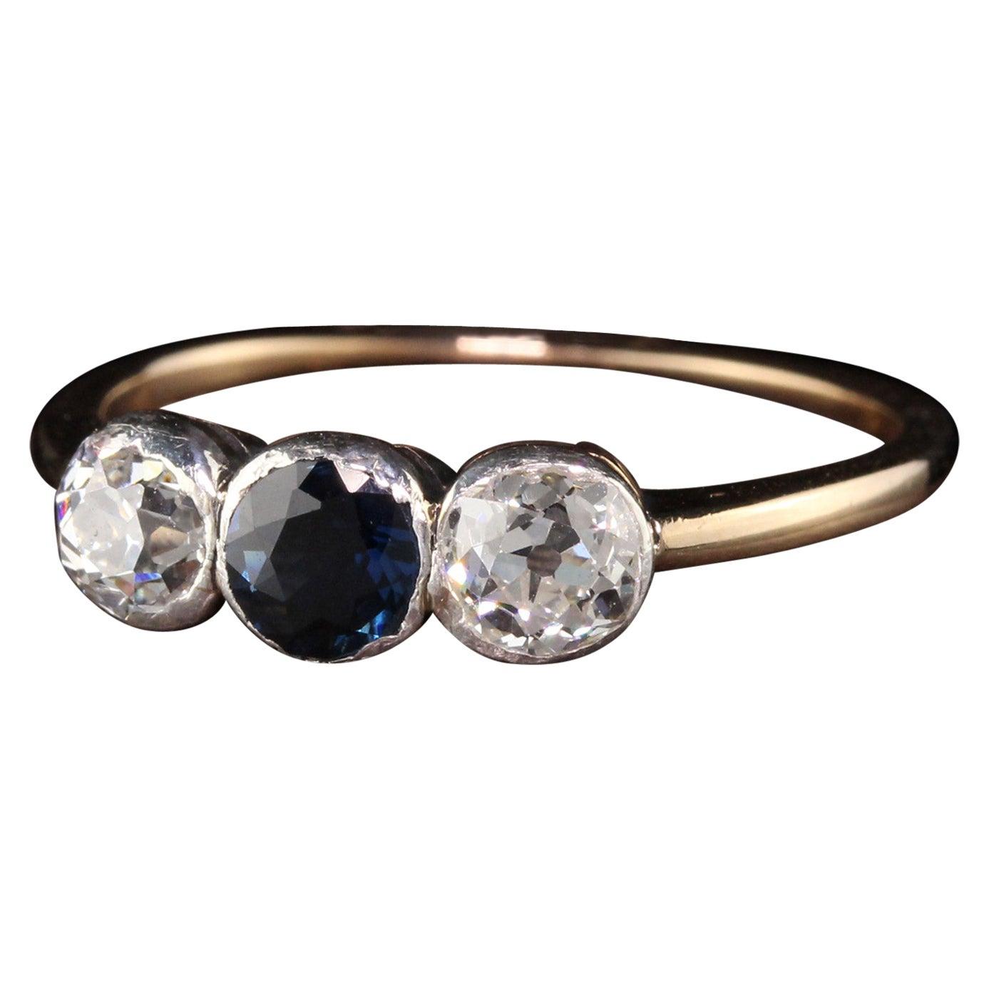 Art Deco 14 Karat Yellow Gold Old European Diamond Sapphire Three-Stone Ring