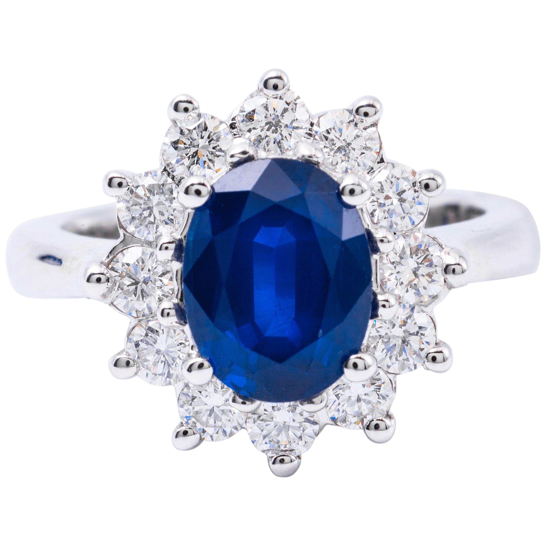 Harbor Diamond Oval Sapphire Diamond White Gold Halo Engagement Ring