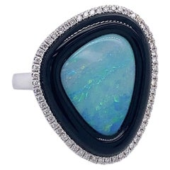 Ruchi New York Australian Blue Opal, Black Agate and Diamond Cocktail Ring