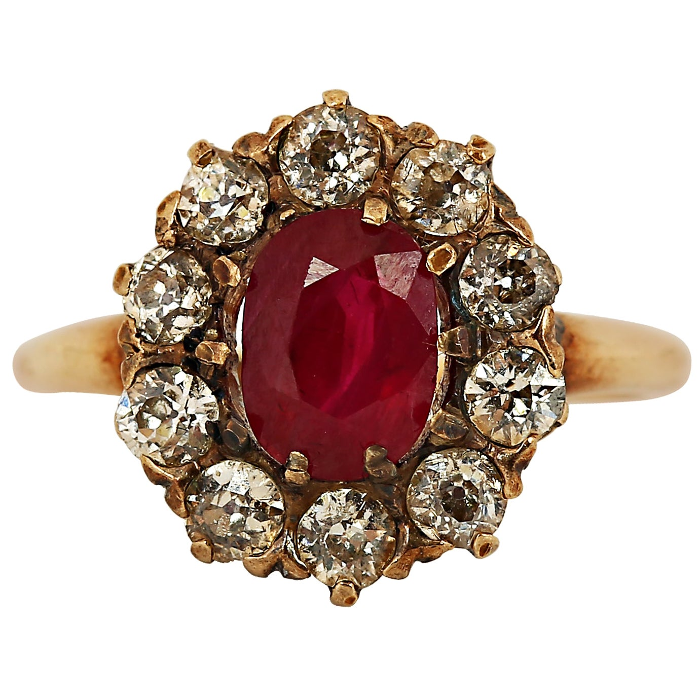 Art Deco 1.60 Carat Ruby and Diamond Halo Ring