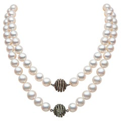 Yoko London Freshwater Pearl and Sapphire Necklace in 18K White and Black Gold