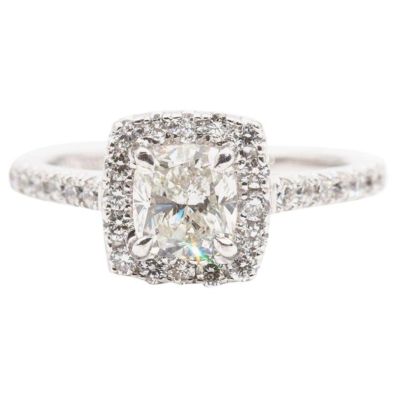 1.01 Carat Cushion GIA Certified Diamond Halo Ring 18 Carat White Gold