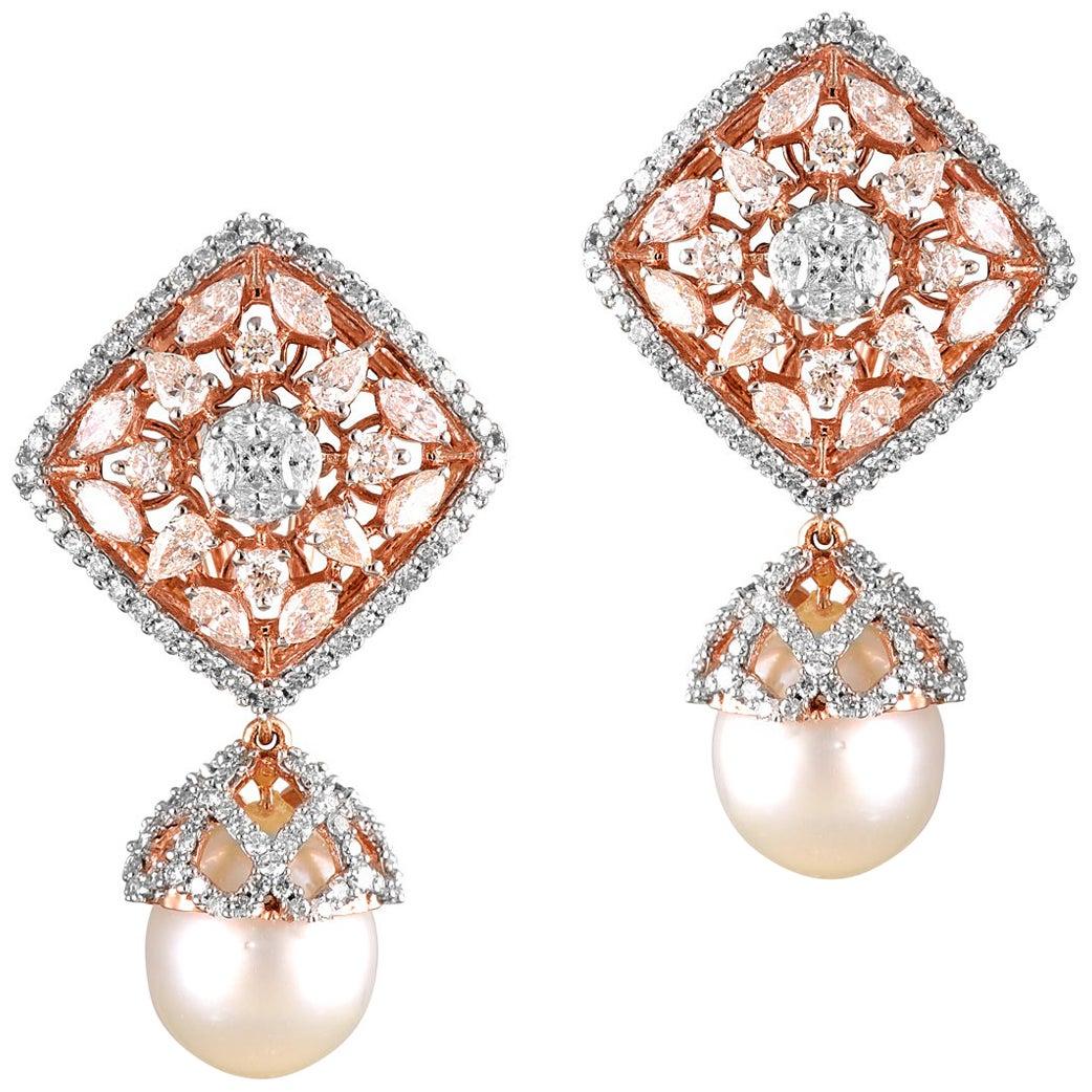 18 Karat Rose Gold Pearl White Diamond Stud Earring