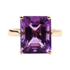 Vivid Purple Emerald Cut Amethyst 9 Carat Yellow Gold Handmade Cocktail Ring