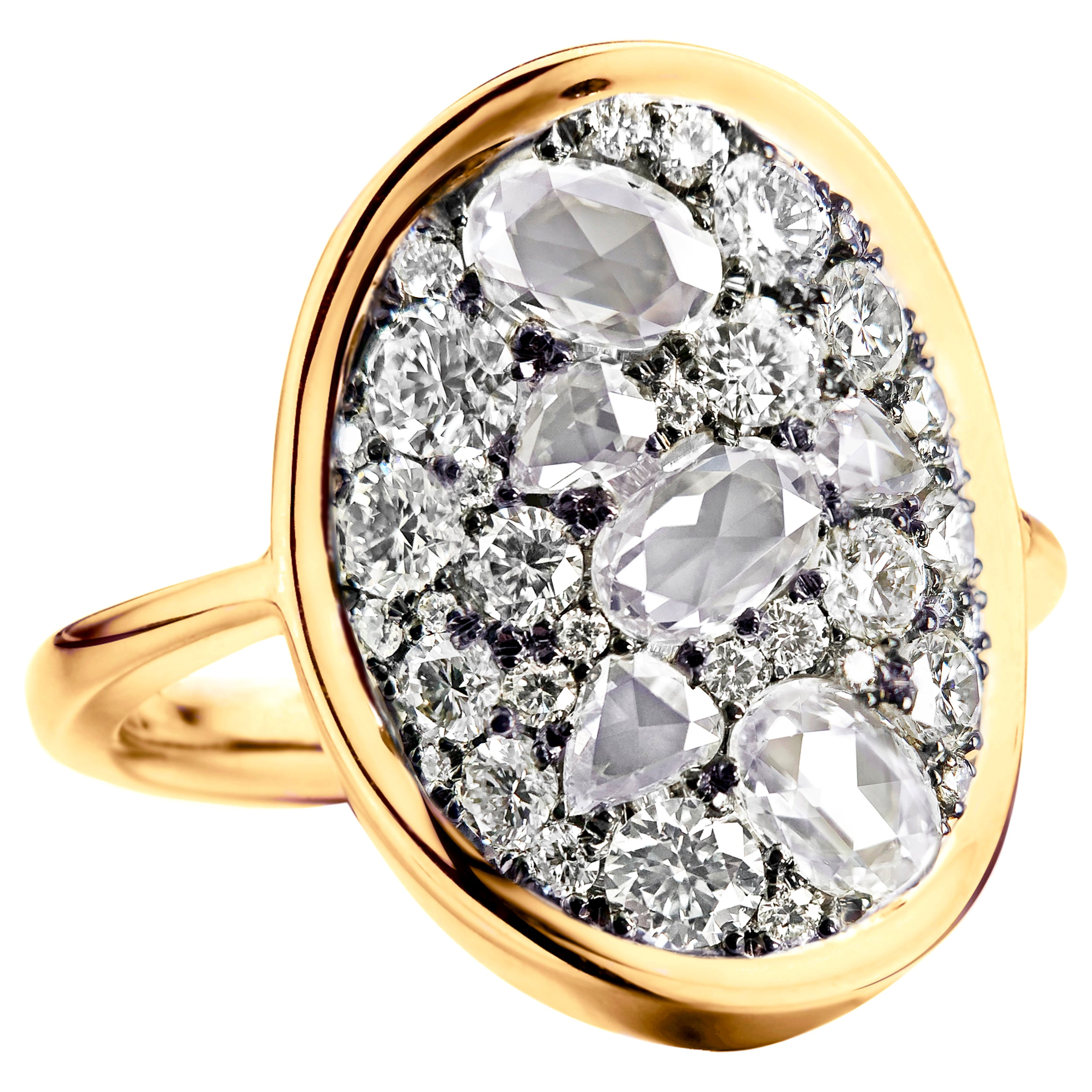 2 Carat White GHVS Rose-Cut and DEGVVS Brilliant-Cut Diamond Pave Ring