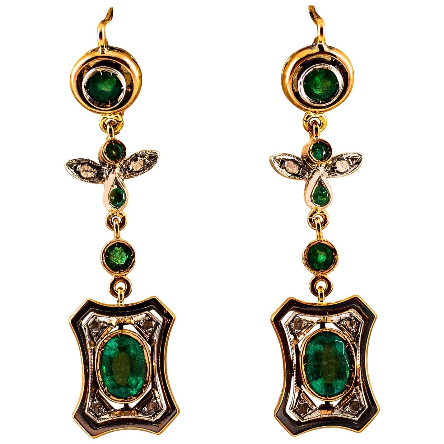 Art Deco Style 2.60 Carat White Rose Cut Diamond Emerald Yellow Gold Earrings