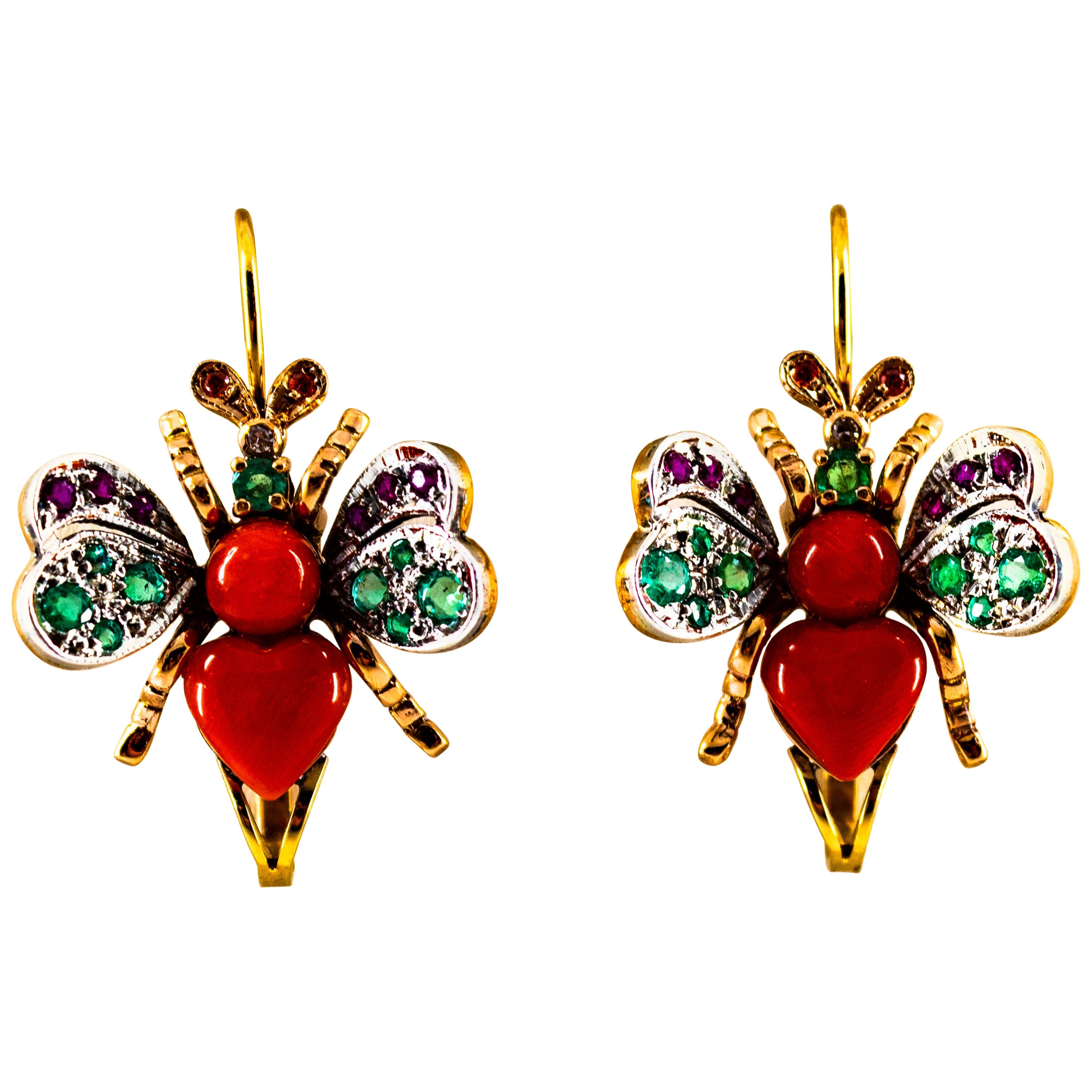 Art Nouveau White Diamond Emerald Ruby Red Coral Yellow Gold Lever-Back Earrings