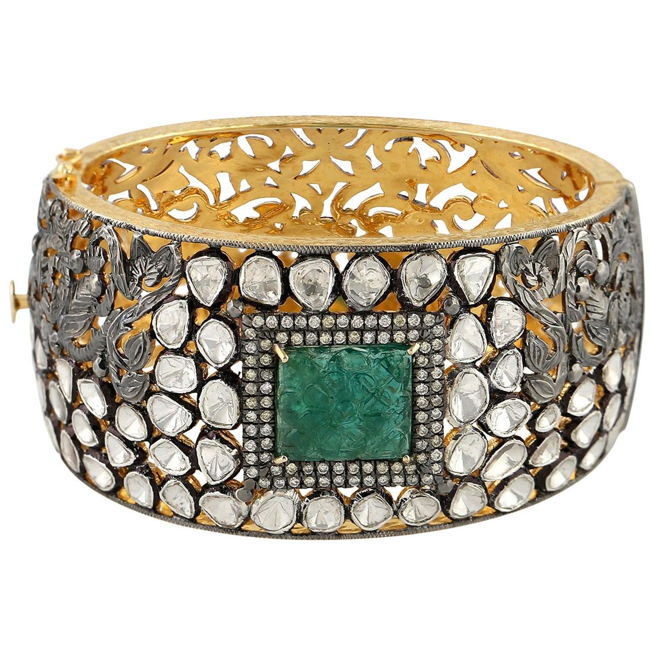 12.64 Carat Rose Cut Diamond Emerald Bracelet Cuff