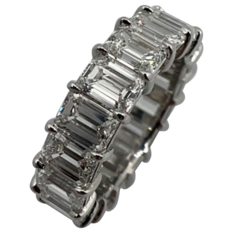 9.75 Carat Emerald Cut Diamond Eternity Band Ring