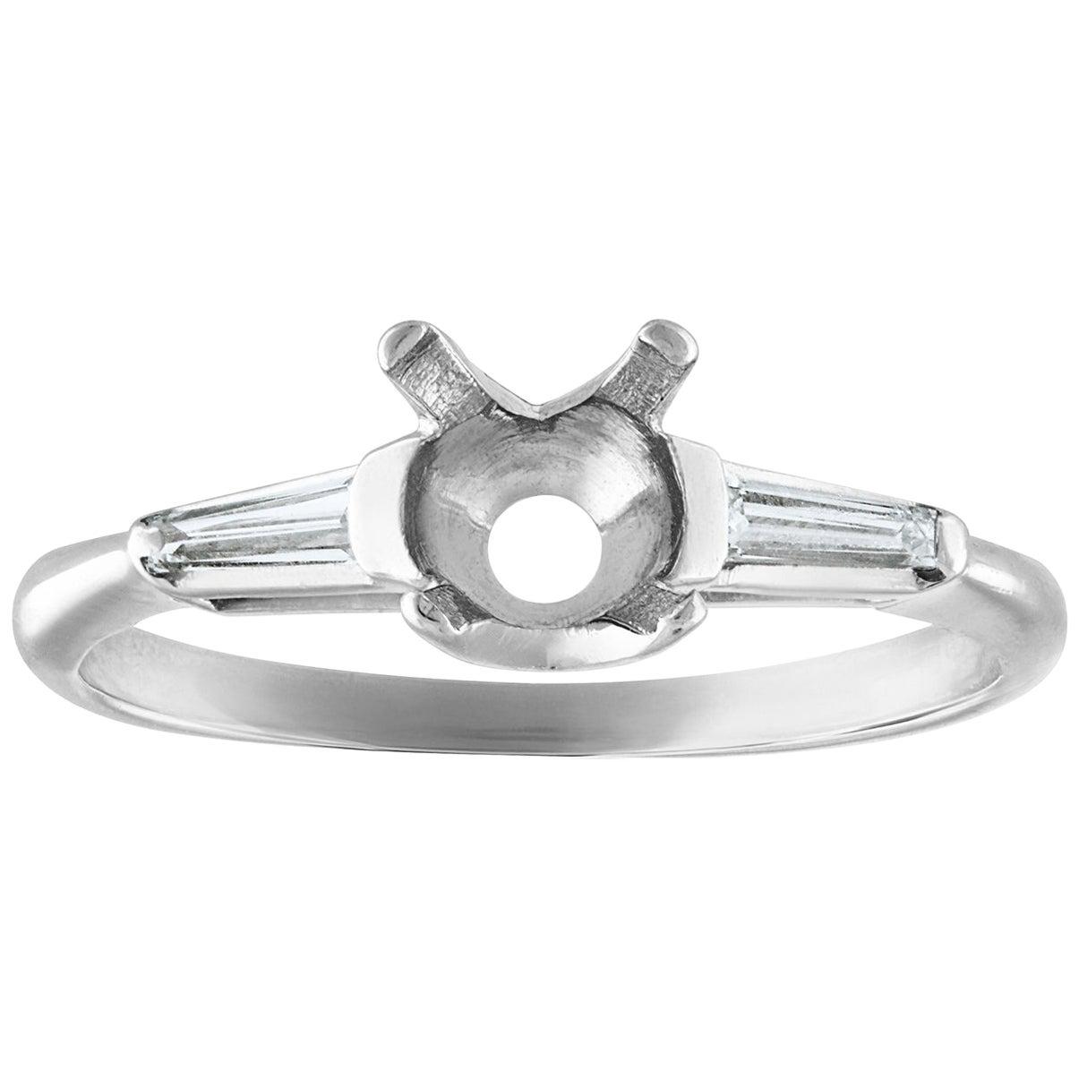 0.25 Carat Diamond Platinum Engagement Ring Setting Mounting