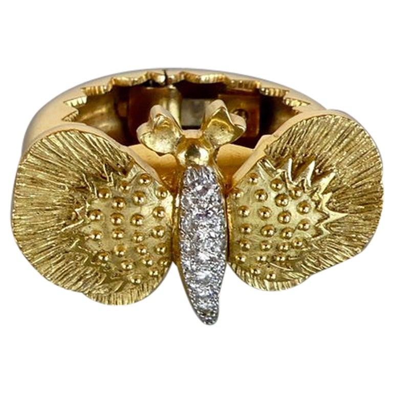 David Webb Diamond Butterfly Hair Clip
