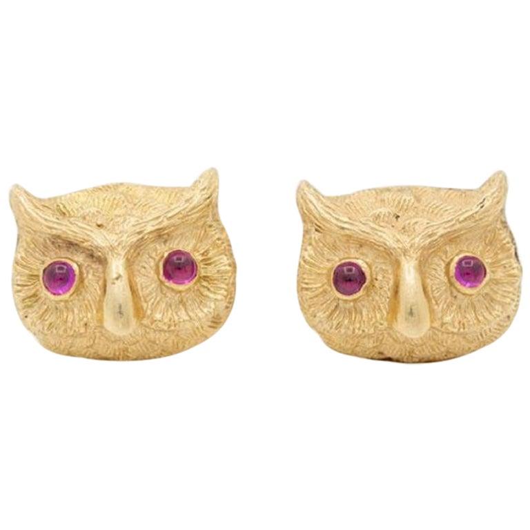 Vintage 14 Karat Yellow Gold and Cabochon Ruby Owl Cufflinks, circa 1940s