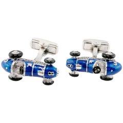 Jona Sterling Silver Blue Enamel Vintage Sports Car Cufflinks