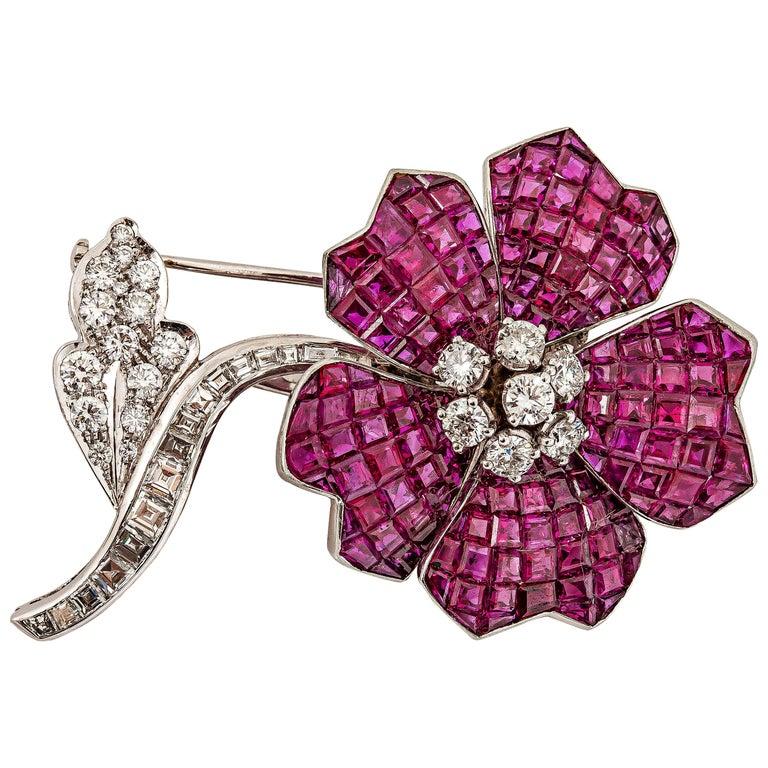 Van Cleef & Arpels Gorgeous Ruby Diamond Gold Brooch For Sale