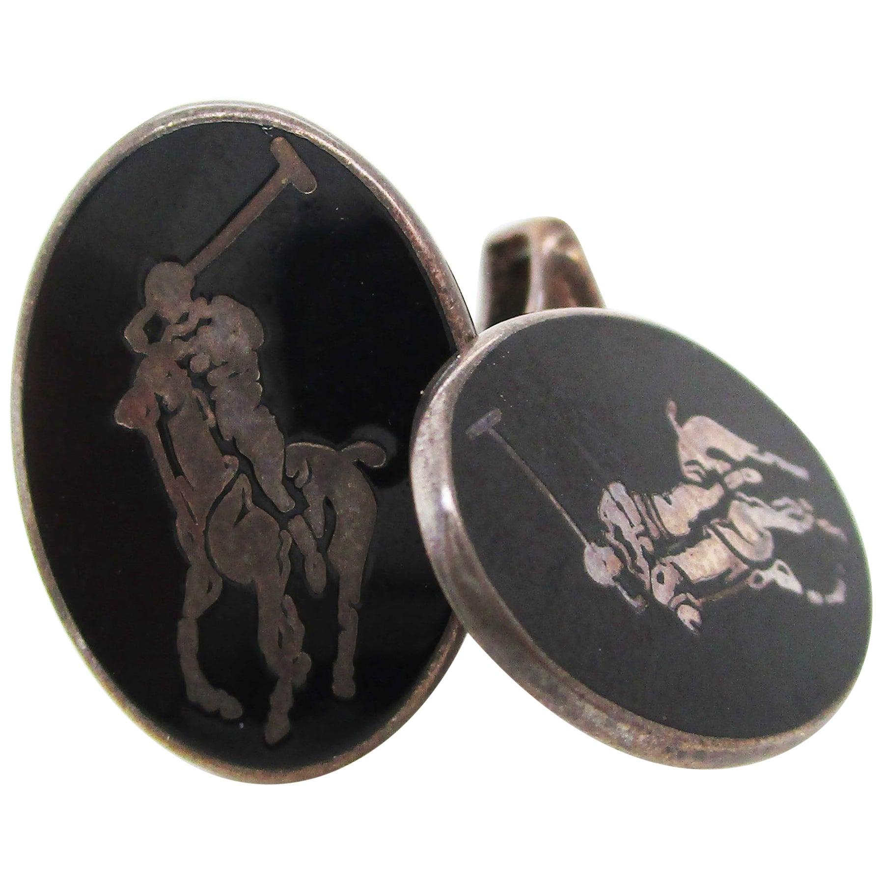 Sterling Silver and Black Enamel English Polo Cufflinks