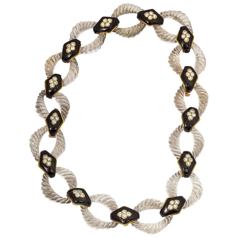 Boucheron Crystal Onyx Diamond Gold Link Necklace