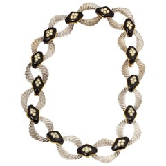 Boucheron Crystal Onyx Diamond Gold Link Necklace