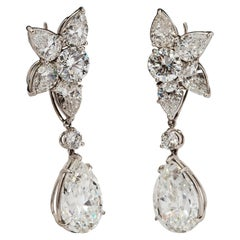 Harry Winston Diamond Platinum Winston Cluster Drop Earrings