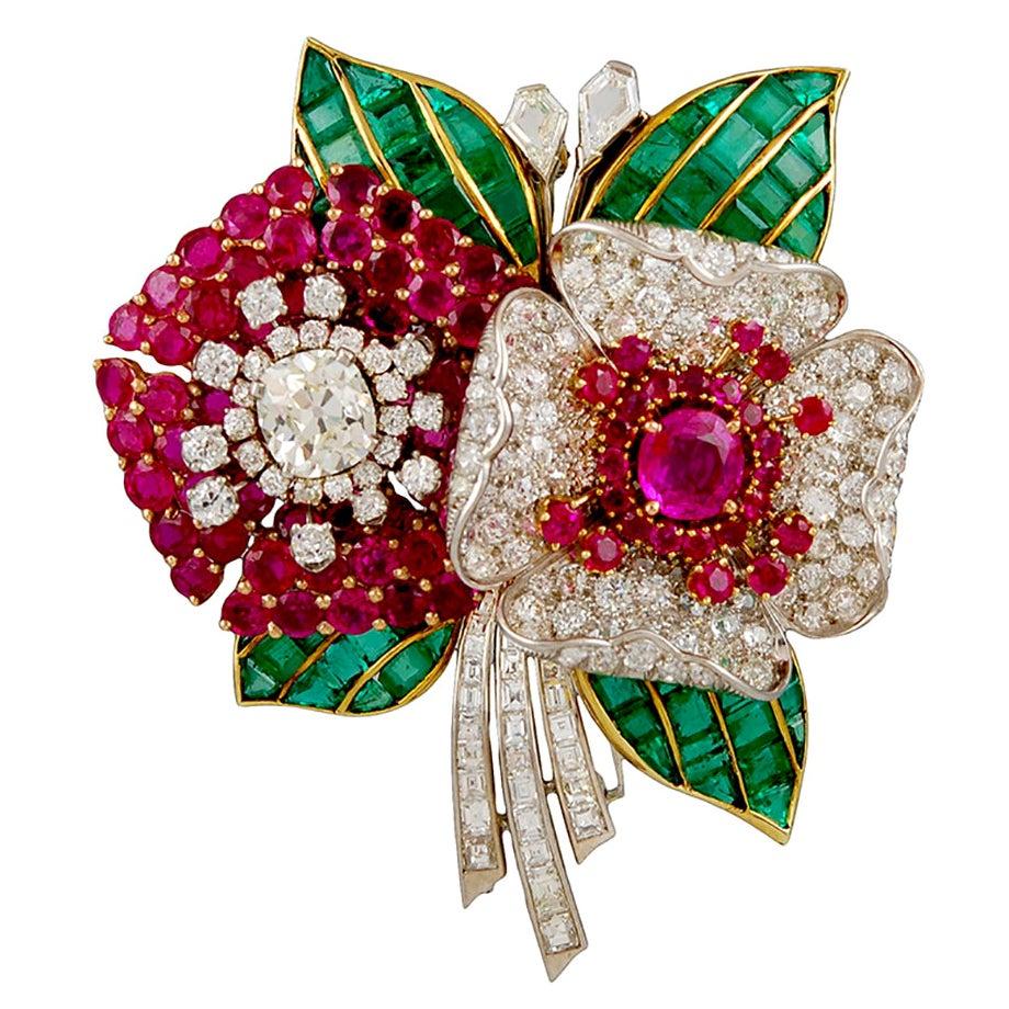 Art Deco Diamond, Ruby, Emerald Flower Brooch