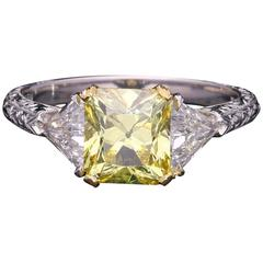 Hancocks 1.68 Carat GIA Certified Fancy Vivid Yellow Diamond Engagement Ring