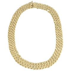 Mid Century Wide Triple Row Interwoven Gold S Link Chain Necklace