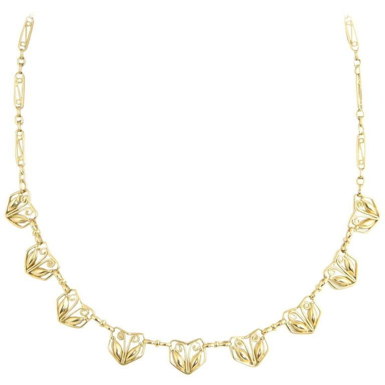 Arts and Crafts French Gold Heart Necklace