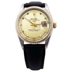Rolex Date 15053 Champagne Dial Stainless Steel Leather Band