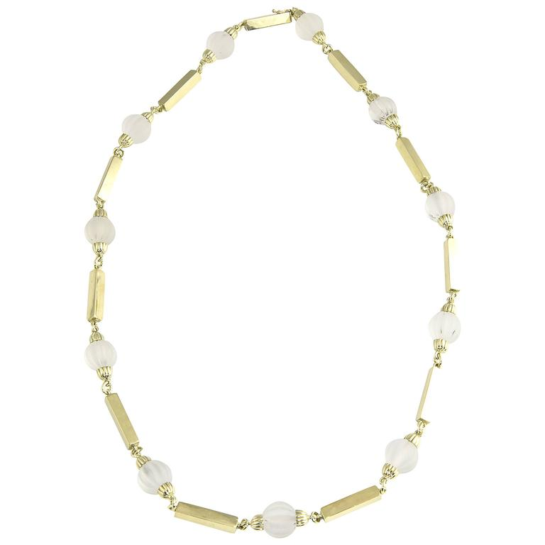 1970s La Triomphe Rock Crystal Fluted Beads and Gold Bar Necklace