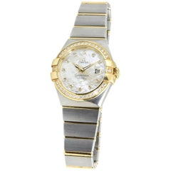 Omega Yellow Gold Stainless Steel Constellation Co-Axial Chronometer Wristwatch