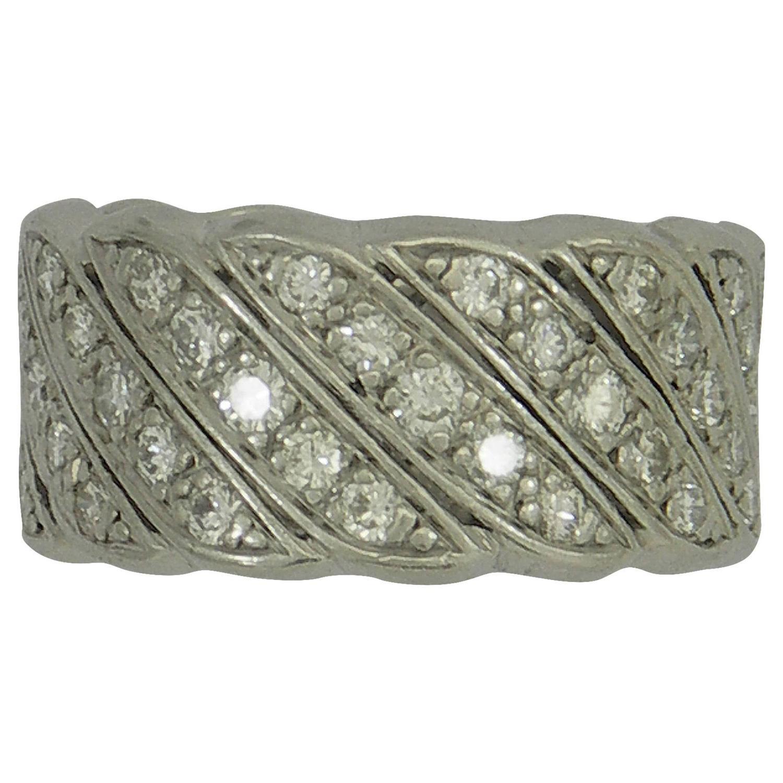 Wide Diamond Platinum Band Ring At 1stdibs