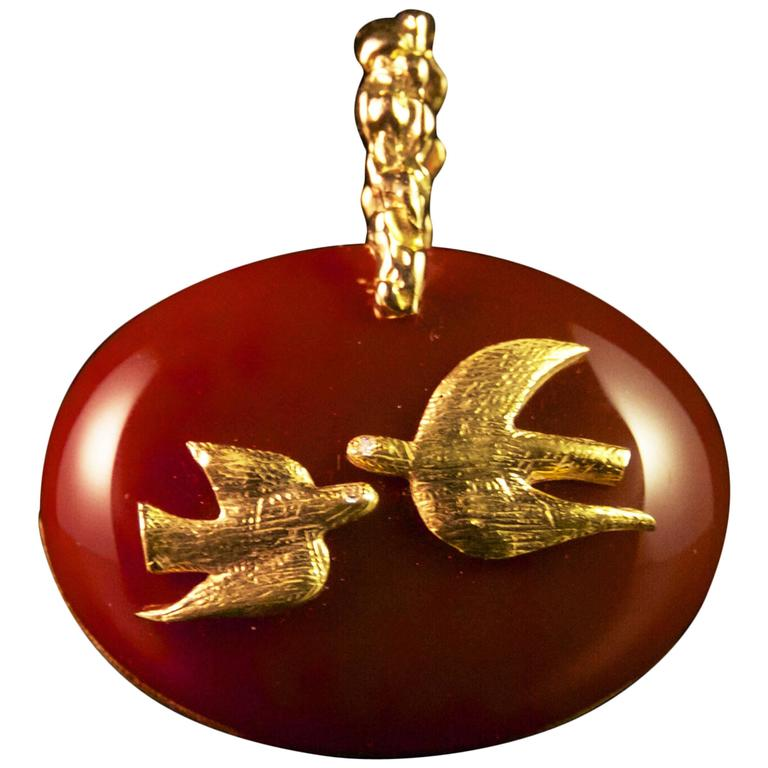 1963 Georges Braque Cornelian Gold Gaea Cupid and Psyche pendant