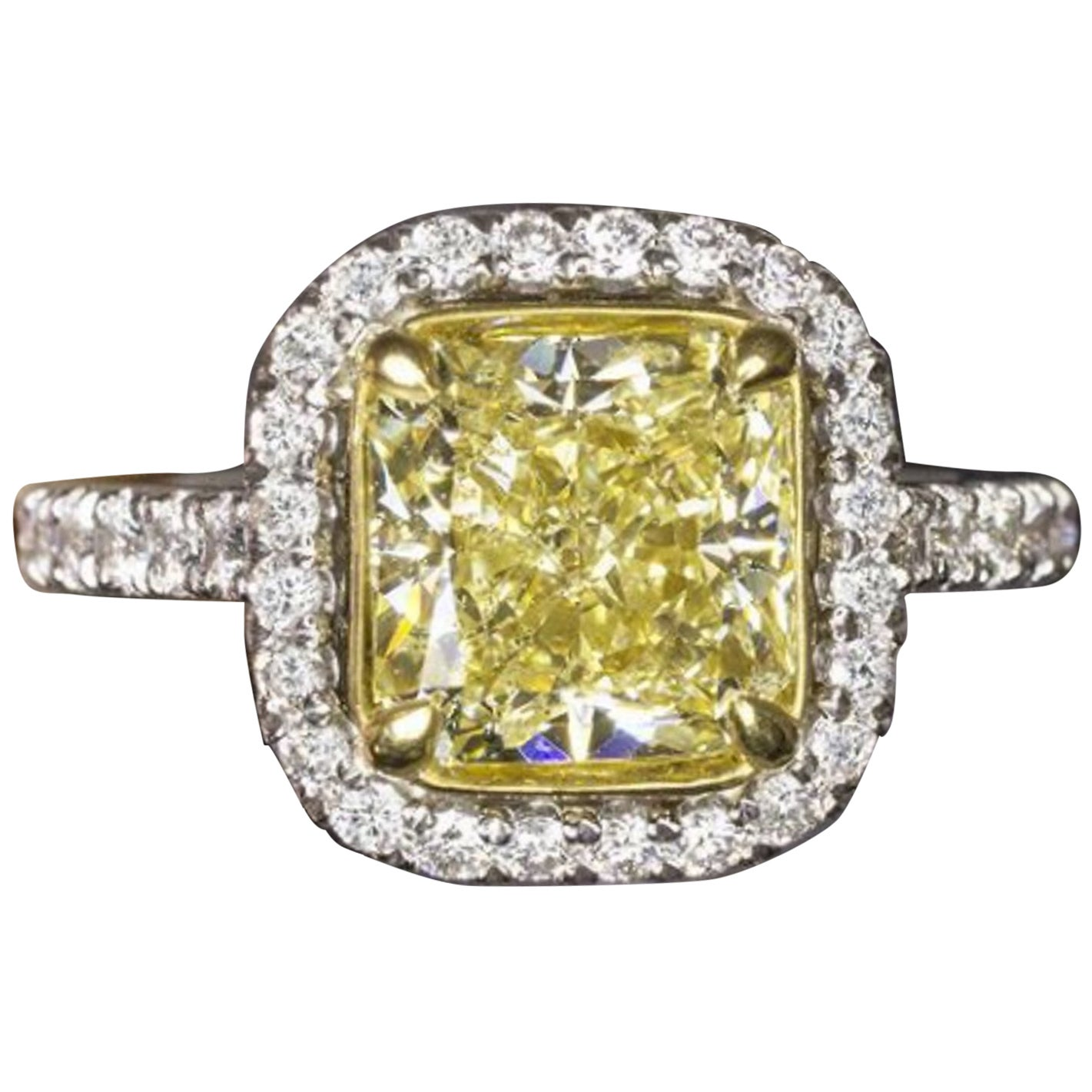 GIA Fancy Yellow 3 Carat Cushion Diamond Ring
