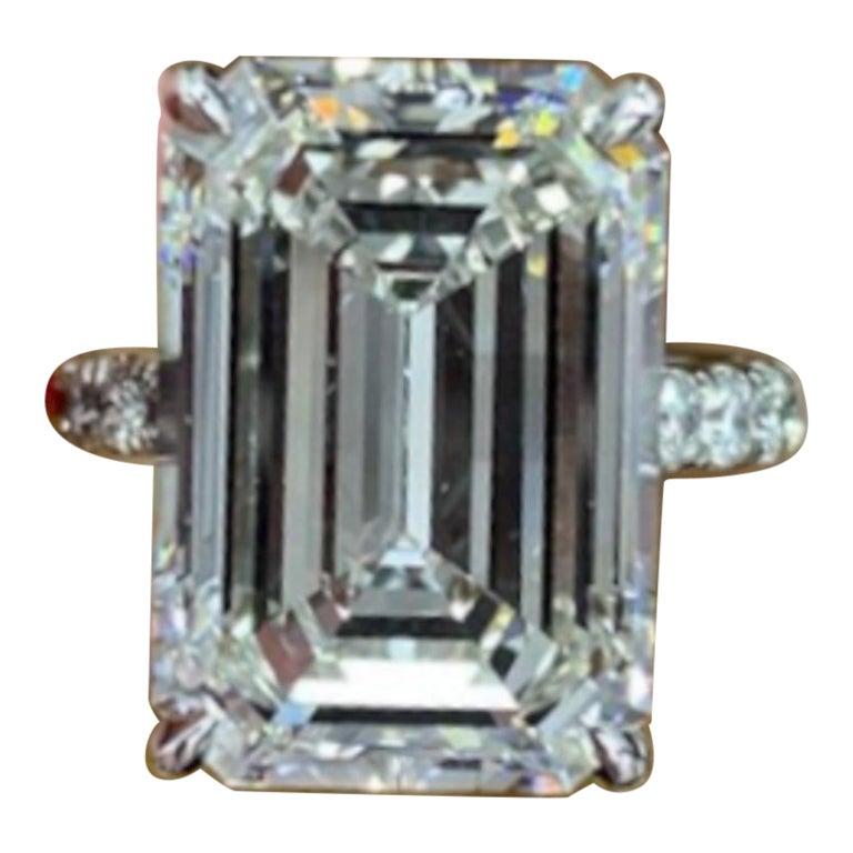 GIA Certified 5 Carat  Emerald Cut Diamond Platinum Solitaire Ring