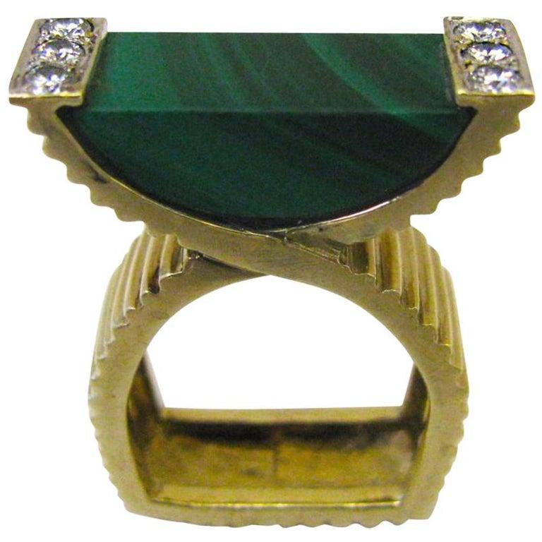 La Triomphe Malachite and Diamond Ring, circa 1970 For Sale
