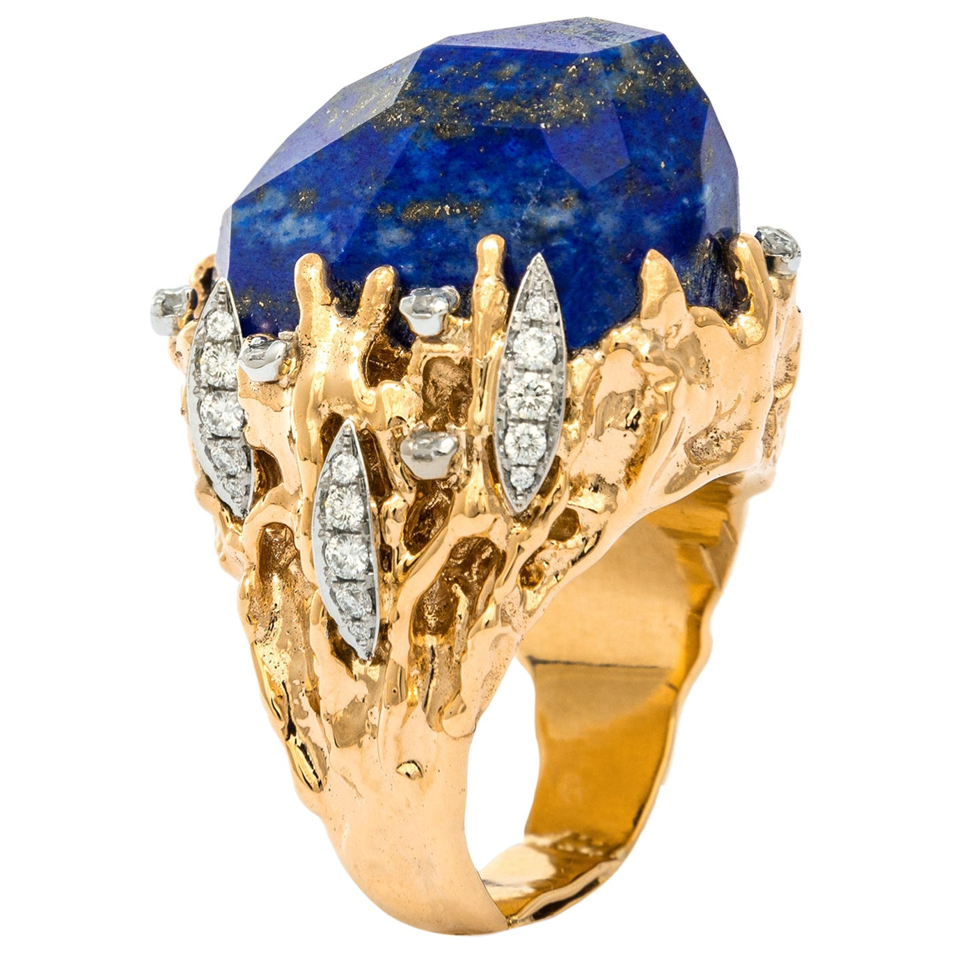 1970s Lapis Lazuli Diamond yellow Gold Ring