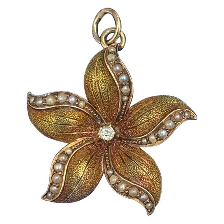 Art Nouveau Old Mine Diamond Pearl Flower Pendant Necklace Charm Gold