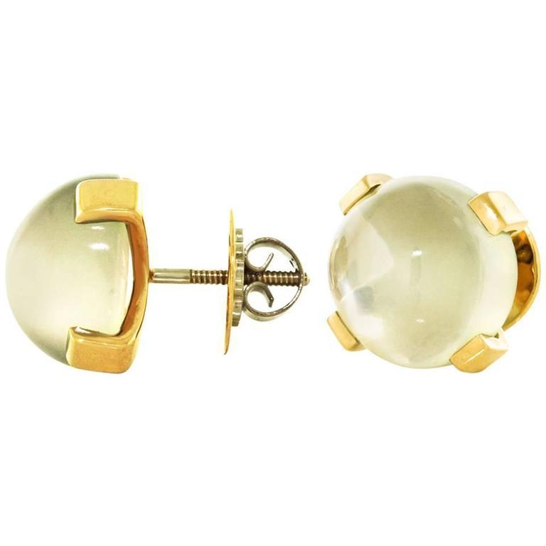 Modernist Moonstone Earrings in Gold 1