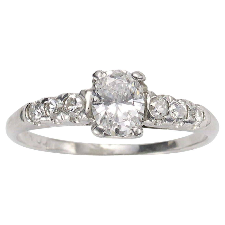 Oval Diamond and Platinum Ring, 0.51 Carat