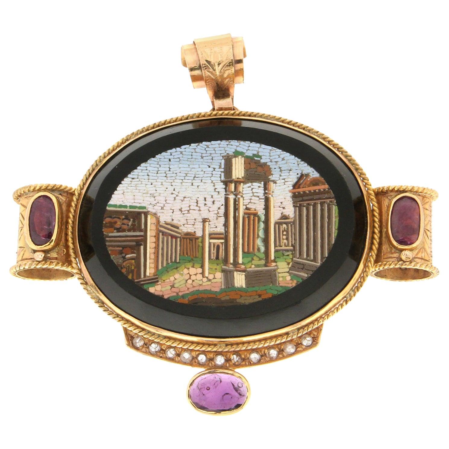 Handcraft Mosaic 14 Karat Yellow Gold Ruby Rose Cut Diamonds Pendant Necklace