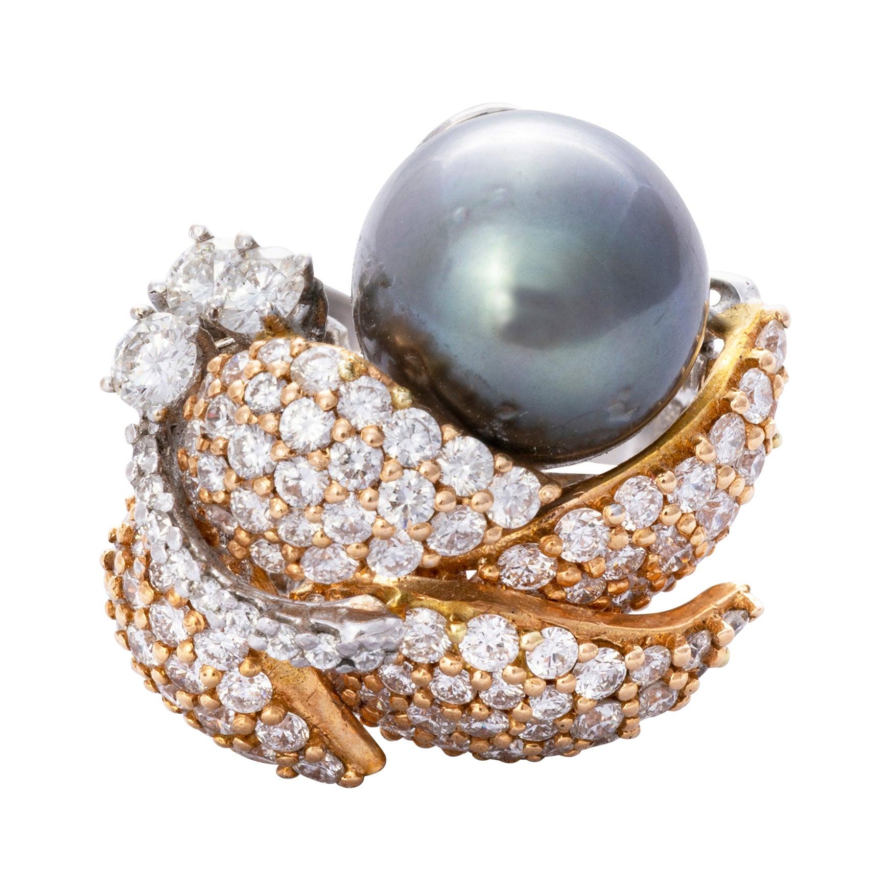 18 Karat Gold South Sea Pearl Diamond Cocktail Ring