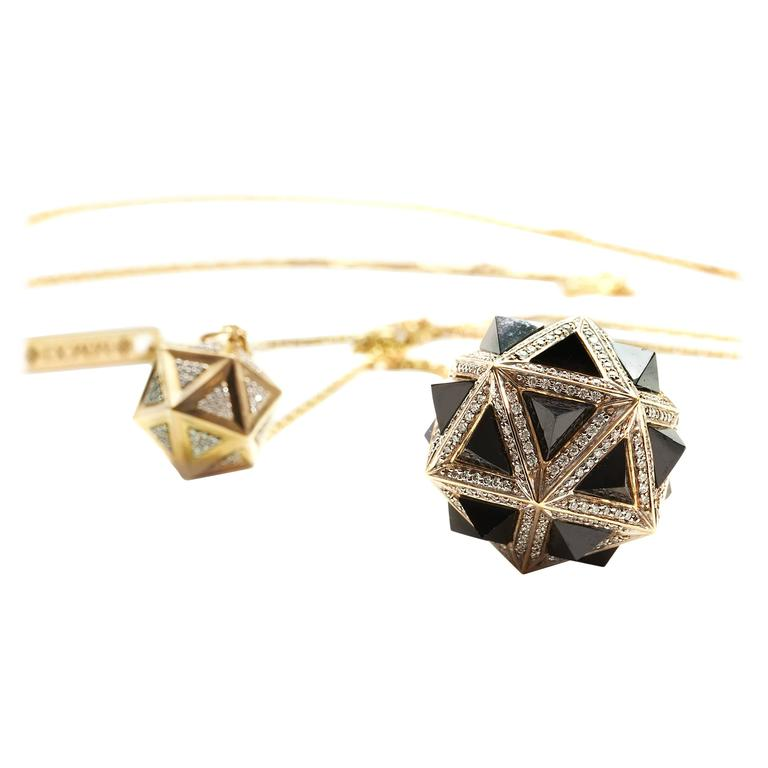 Icoso Diamond and Black Sapphire Pyramids Gold Pendant