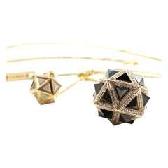 Icoso Diamond and Black Sapphire Pyramids 18K Gold Dual Pendant