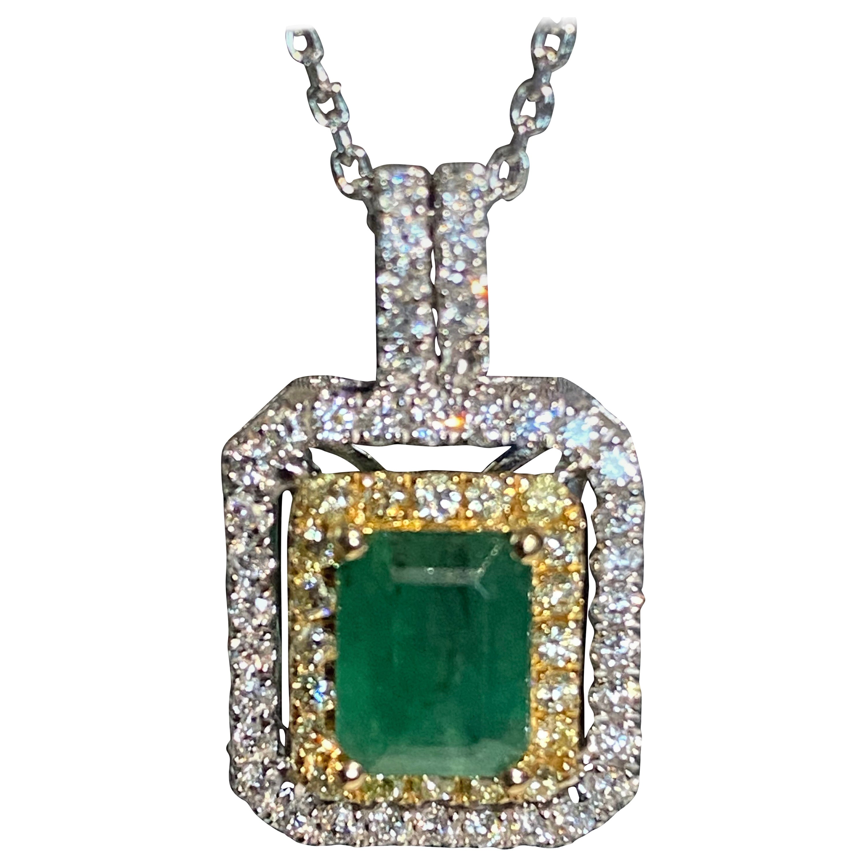 1.45 Carat Emerald Cut Emerald Diamond Halo Pendant